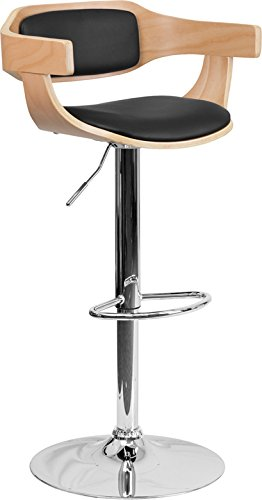 Flash Furniture Beech Bentwood Adjustable Height Barstool with Black Vinyl Upholstery