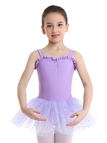 iiniim Kids Girls Shimmering Ballet Dance Tutu Dress Shoulder Straps Gymnastic Leotard Fairy Dress up Costumes Lavender 3-4]()