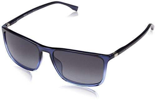 HUGO by Hugo Boss Men's B0665S Rectangular Sunglasses, Shadow Blue & Blue, 57 - Boss Glasses Hugo Blue