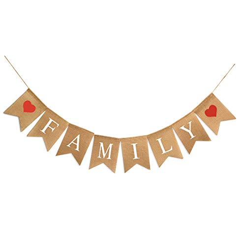Family Bunting Banner Family Reunion Photo Prop Party Banner for Home Decoration Family Party]()