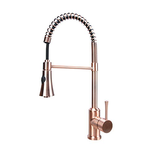 Kitchen Copper Sink Single - Antique Copper Single Handle Pull-Down Copper Kitchen Faucet with Spring Spout - Five Years Warranty