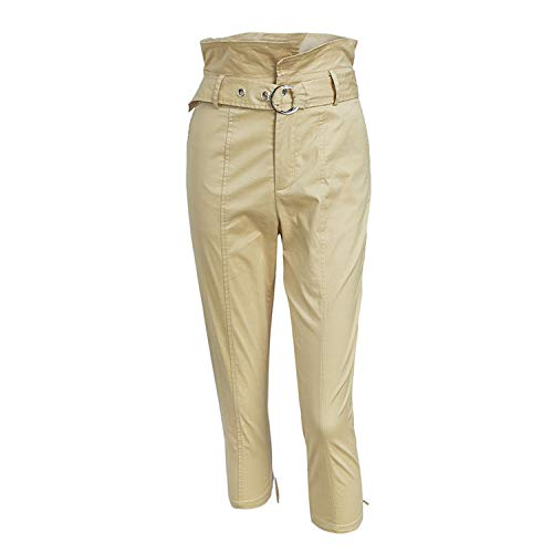 loveinfinite Khaki high Waist Belt Pants Zipper Casual for sale  Delivered anywhere in USA