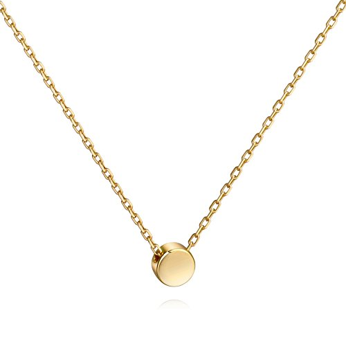 Meow Star Tiny Gold Plated Dot Necklace Sterling Silver Floating Disc Circle Pendant Minimalist Necklace (Dia Gold Pendant)