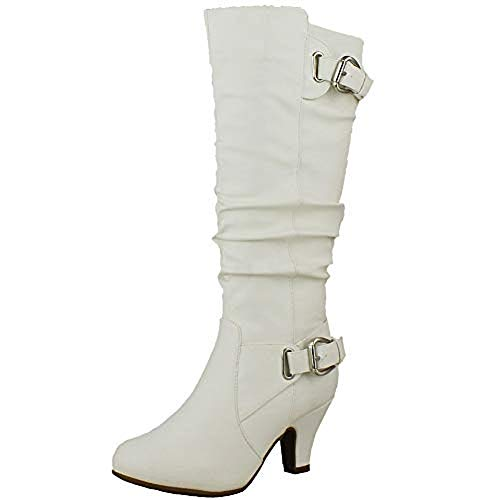 TOP Moda Womens Bag-55 Knee High Buckle Slouched Kitten Heel Boots White