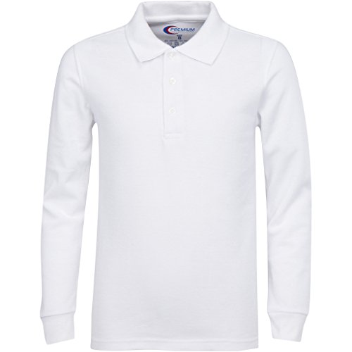 Mens White Long Sleeve Polo Shirts XL