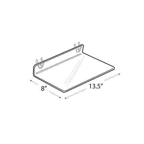 Count of 4 Clear Retail Acrylic Shelf for PEGBOARD 13.5'' Wide x 2'' High x 8'' D