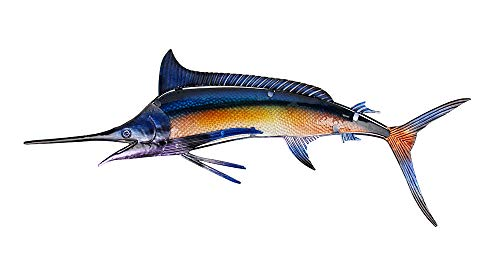 Liffy Metal Sailfish Wall Decor Fish Outdoor Glass Hanging Art Garden