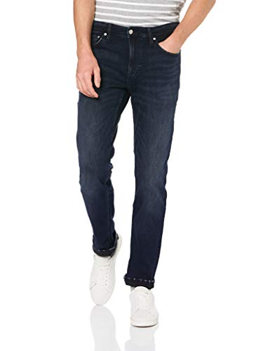 Calvin Klein Men's Slim Fit Jeans, Boston Blue/Black, 32W x 30L (Calvın Kleın)