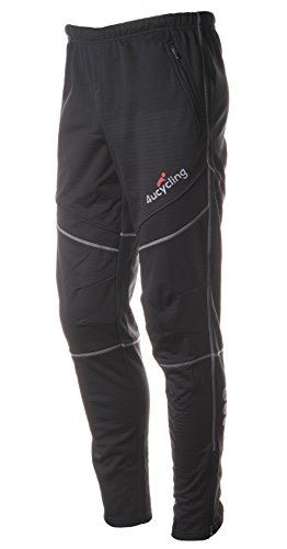4ucycling Men's Bike Pants Fleeced for Cold Weather, Black, S (Best Waterproof Mountain Bike Trousers)
