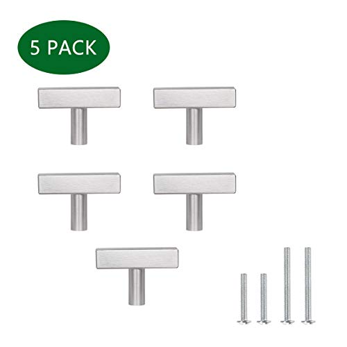 (5 Pack) 2 Inch Cabinet Knob Stainless Steel Knob for Kitchen Cabinet, 2IN Bathroom Cabinet Pulls Knob 50mm Square Euro Style Pulls,YTHD1212BN-5PTMC ()