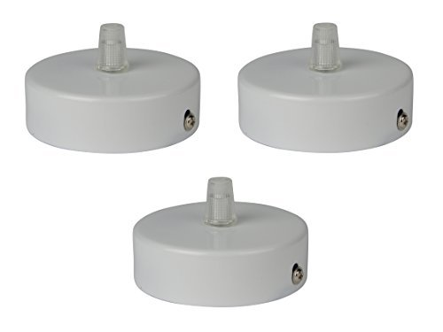 Ceiling canopy / rose kit with matt white finish, 8.00 x 2.50 cm with transparent strain relief and all required installation hardware. (pendant light fixture / metal steel rose) (3 pieces)