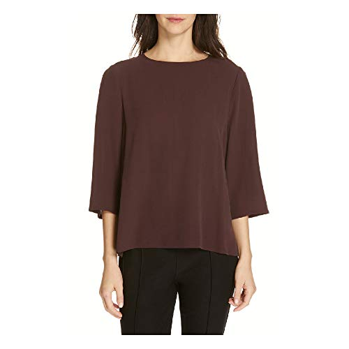 Eileen Fisher Cassis Silk Georgette Crepe Round Neck Top L