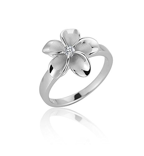 Sterling Silver Cubic Zirconia 15mm Single Plumeria Ring Size 6