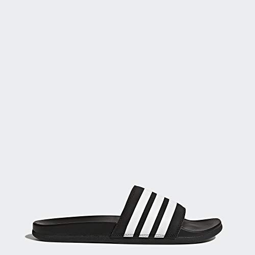 adidas Men's Adilette Comfort Slide Sandal, White/Black, 11 M US