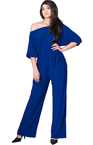 KOH KOH Womens One Shoulder Short Sleeve Sexy Wide Leg Long Pants One Piece Jumpsuit Jumpsuits Pant Suit Suits Romper Rompers Playsuit Playsuits, Cobalt Royal Blue L 12-14 ()