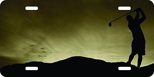 golf golfer driver pga pebble beach masters mocha champagne Backgound Aluminum Airbrushed License Plate ()