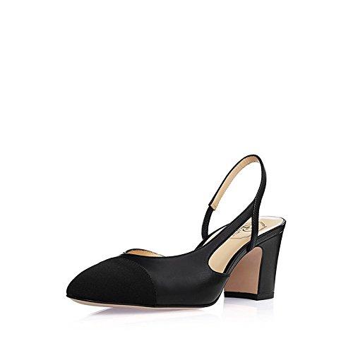 SHOESHAOGE Gruesas Con Sandalias, Tacones Altos Con El Solo Zapatos En Dos Colores ,Ue37 Cabezal EU37