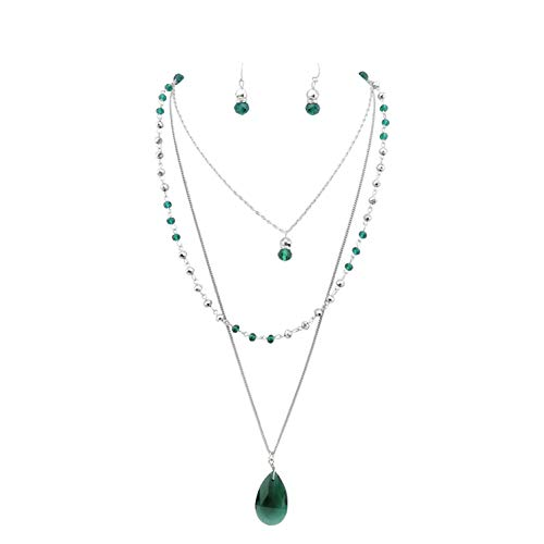 Bocar 3 Layer Jewelry Set Long Chain Pendant Bead Necklace Earring for Women (NK-10036-dark Green)
