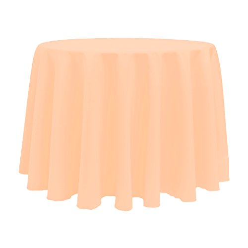 Polyester Tablecloth Peach (Ultimate Textile (10 Pack) 120-Inch Round Polyester Linen Tablecloth - for Wedding, Restaurant or Banquet use, Peach)