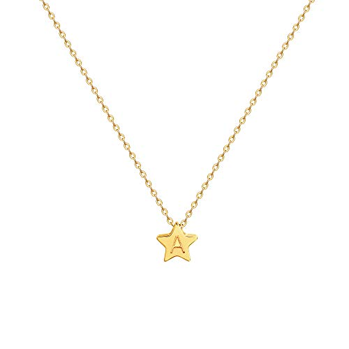 Initial Star Necklace, 14K Gold Plated Small Dainty Pentagram Pendant Initial Charm Necklace Delicate Tiny Engraved Letter A Personalized Name Necklace for Women (A) (Start Letter C The With That Gifts)