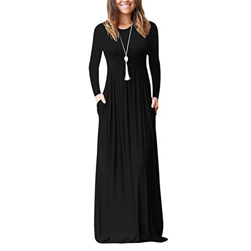 - Catawe Women Long Sleeve Maxi Dress Loose Plain Casual Long Dresses With Pockets