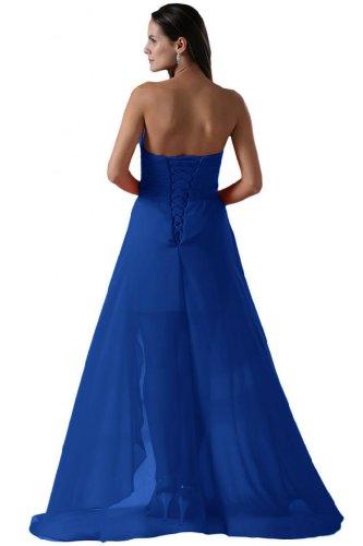 da lungo Chiffon collo Sweetheart con strass Sunvary abito lo Hi Blue a sera Royal qx1ZwCX