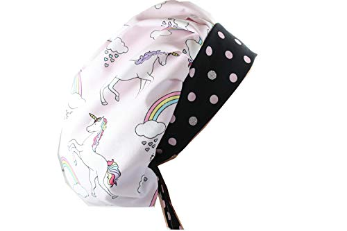 (Scrub Hat Chemo Cap Bouffant Style MANY Color Options Available (unicorns)