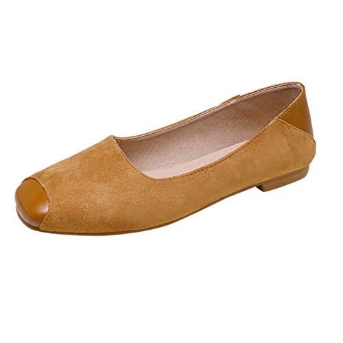 Tantisy ♣↭♣ Loafers for Women/Women's Retro Slip-On Flat Single Shoes Suede Single Shoes Sandals Walking Shoes Khaki -