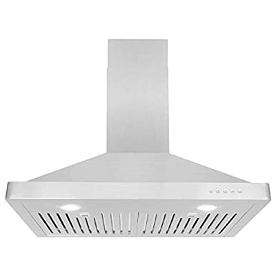 Cosmo 30 in. 760 CFM Ducted Wall Mount Range Hood, Push Button Control Panel Wall Mounted Kitchen Vent Cooking Fan Range Hood with Permanent Filters and LED Lighting