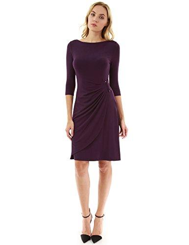 3 4 sleeve boatneck dress - 2