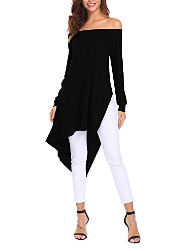 4ff7877378ffa5 Qearal Women Sexy Off Shoulder Tops Side Slit High Low Casual T Shirts at  Amazon Women s Clothing store
