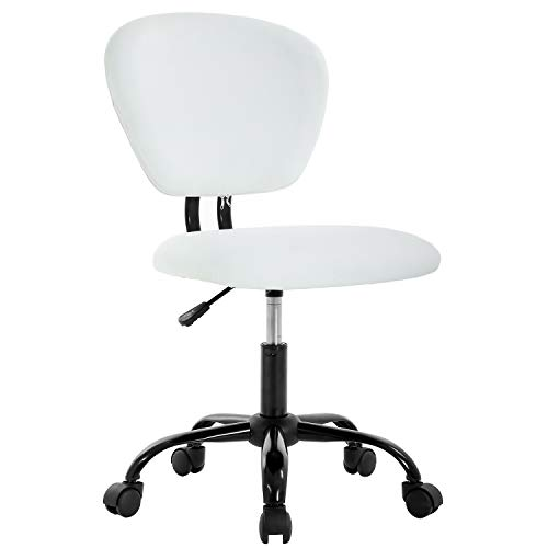 Office Chair Ergonomic Desk Chair PU Leather Computer Chair Task Rolling Swivel Stool Mid Back Executive Chair with Lumbar Support for Women&Men, White
