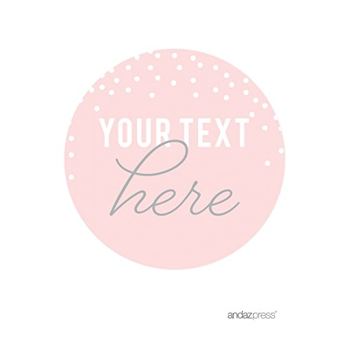 (Andaz Press Pink Blush and Gray Pop Fizz Clink Wedding Collection, Personalized Round Circle Label Stickers, Custom Your Text Here,)