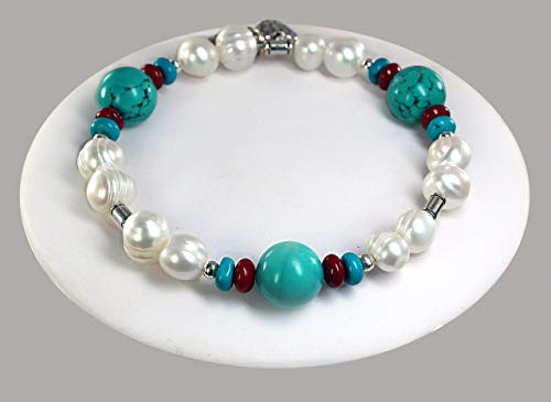Freshwater Pearl, Turquoise, and Coral Beaded Bangle Bracelet with Charms