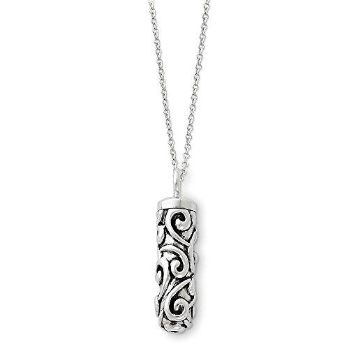 (Sentimental Expressions Sterling Silver Antiqued Cylinder Remembrance Ash Holder 18in Necklace)