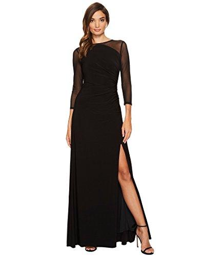 矛盾するセールつぼみ[アドリアナパペル] Adrianna Papell レディース Side Draped Long Gown with Illusion Long Sleeves ドレス Black 10 [並行輸入品]