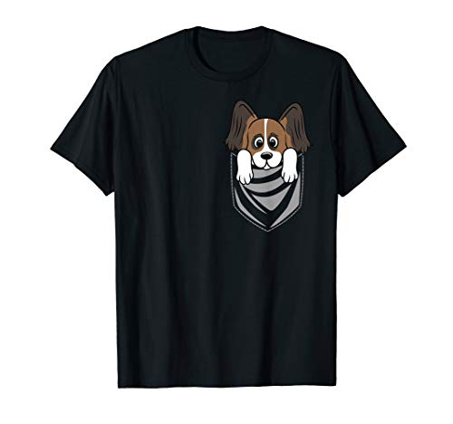 Funny Papillon Breast Pocket Graphic T-Shirt Dog Tee