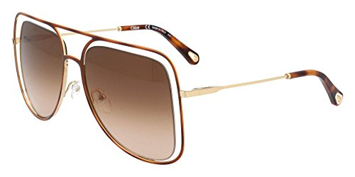 Chloe CE130S 213 Havana / Brown Poppy Square Aviator Sunglasses Lens Category - Sunglasses Chloe Aviator