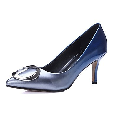 SANMULYH  Damenschuhe Kundenspezifischen Materialien Kunstleder Frühling Herbst Komfort Heels Schuhe Für Hochzeit Kleid Dunkelblau Weiß