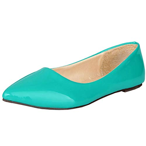 Artfaerie Womens Ballet Flats Pointed Toe Slip on Comfotable Patent Leather Court Shoes (US 15, Green)