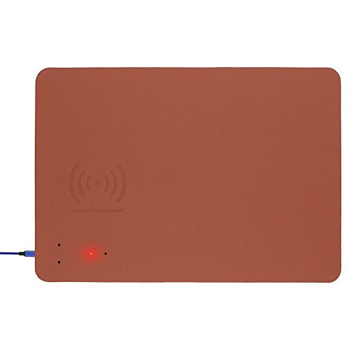 (Qi Fast Wireless Charging Mouse Pad,Wireless Charging Mouse Pad,Qi Wireless Fast Charging Pad,Wireless Charger Mouse Pad Built-in Wireless Charger (Brown))