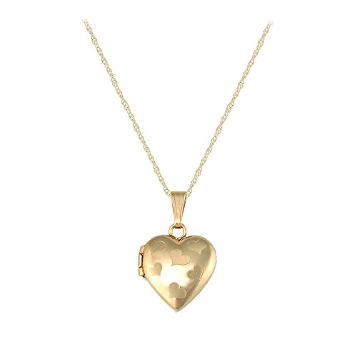 Children's Jewelry - 15 Inches 14K Yellow Gold Heart Rope Chain Locket Necklace by Loveivy