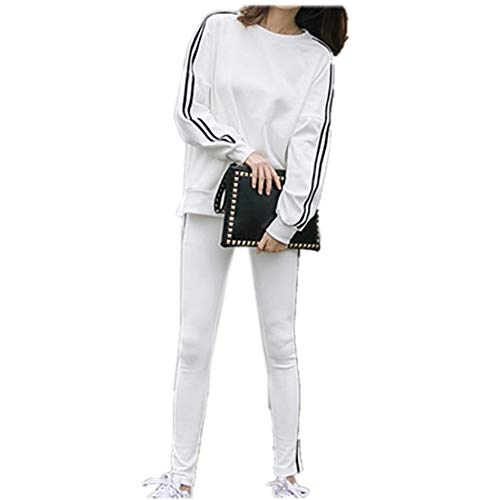 unyielding1 Women's Casual Tracksuit Long Sleeve Running Jogging Sports Jacket and Pants(White M) -