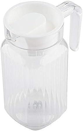 Duokon Botella de plástico acrílico transparente para jugo de vino, de rayas, de agua, hielo, jugo frío, con tapa para barra de aplicación en casa (500 ml)