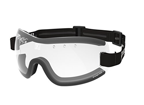 Kroops Brand 13-Five Skydive Goggle by Kroops for Skydiving, Motorcycling, Scooters, Bicycling...Protection from wind, dust, and dirt...Clear Lens with Black adjustable, non-slip - Bicycling Goggles