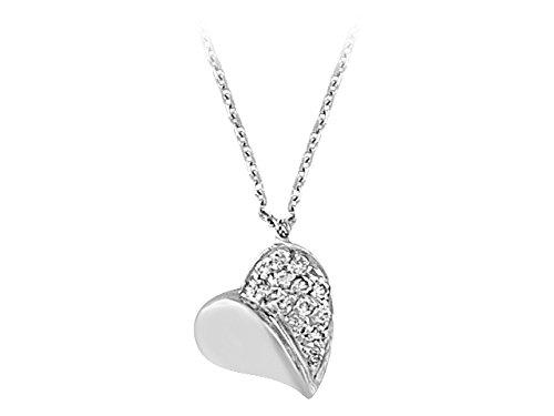 Pendentif Cœur de Diamants-Femme- or Blanc 215P0025