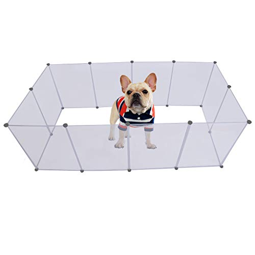 RTYou Dog Playpen Portable Large Plastic Yard Fence Small Animals Popup Kennel Crate Fence Tent Transparent White 12 Panels 203.2 L x 101.6 W x 71 H cm【Ship from USA 】]()