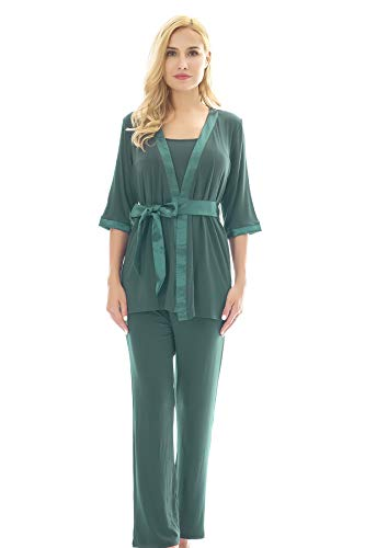 Bearsland Maternity Women's 3 Pieces Soft Nursing Pajamas Se