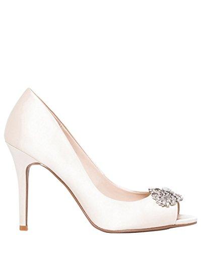 - LE CHÂTEAU Embellished Satin Peep Toe Dressy Pump,8,Ivory