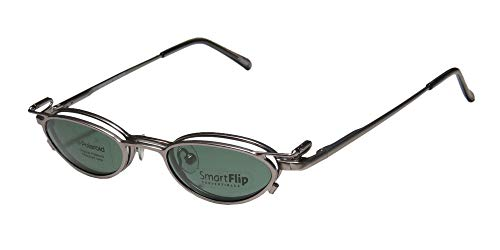 SmartFlip 450 Mens/Womens Cat Eye Full-rim Trendy Polarized Sunglass Lens Clip-Ons Spring Hinges Eyeglasses/Eye Glasses (42-19-135, Matte Silver) (Ray Brille)